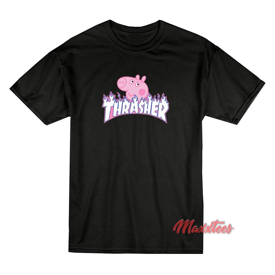 67b2f08bc124 Peppa Pig X Thrasher Parody Black T-Shirt - Sell Trendy Graphic T-Shirt
