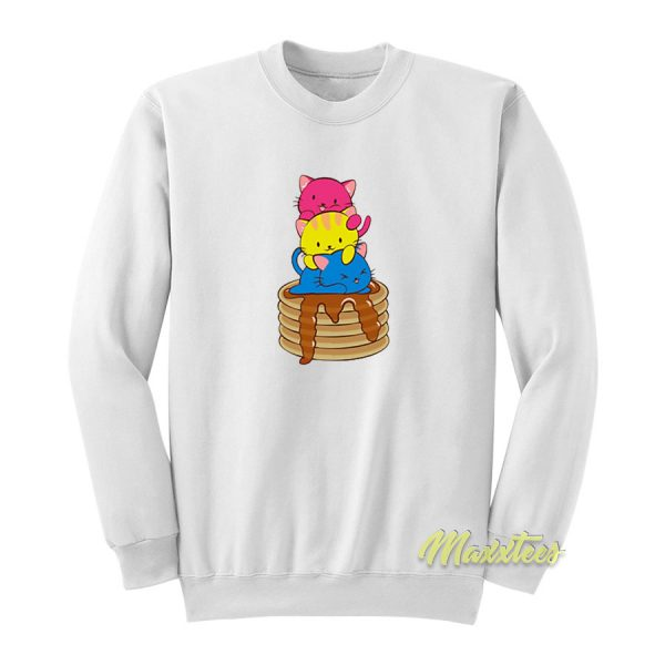 Pansexual Pride Flag Kawaii Cats On Pancakes Sweatshirt